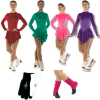 Plain Crushed Velvet Ice Skating Dress Package