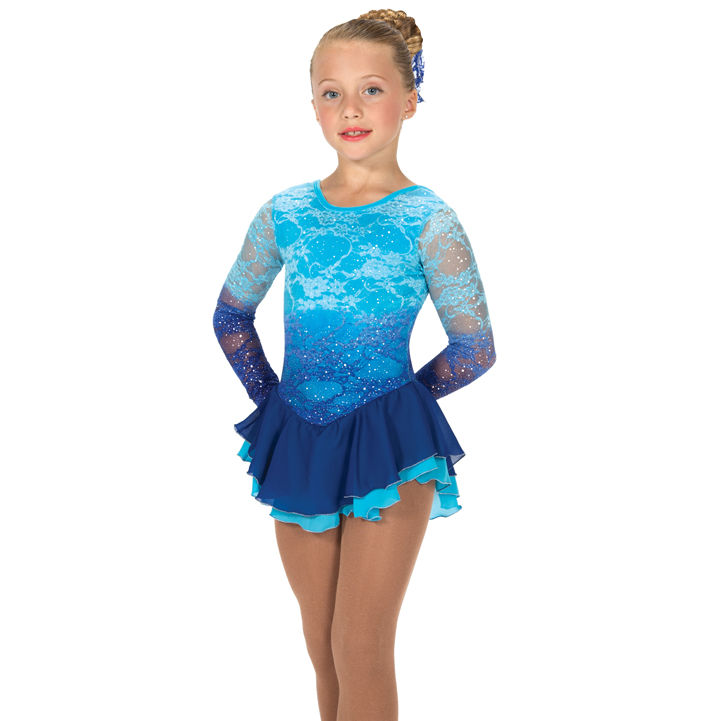 Ombre lace figure skating dress blue